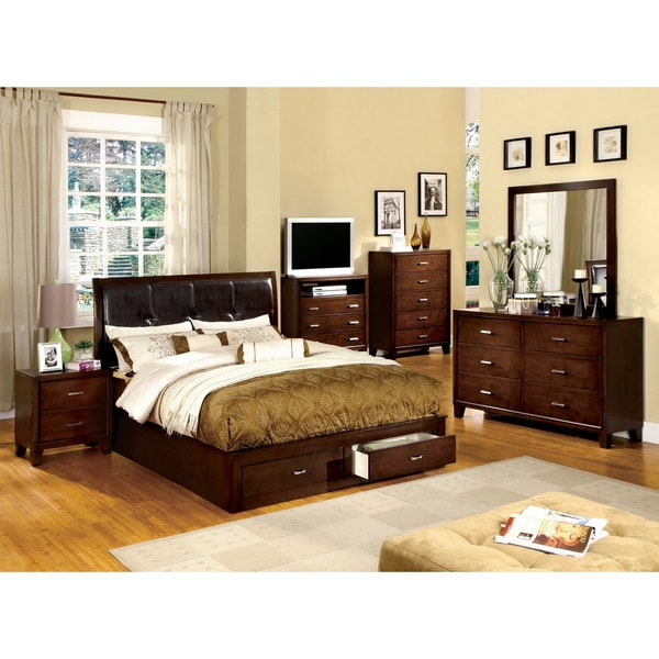 furniture of america york brown cherry finish 5 piece