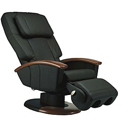 Black Human Touch Stretching Massage Chair with Wood Arms (Refurbished)
