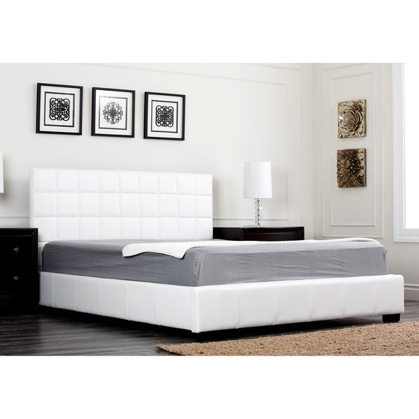 ABBYSON LIVING Torrance Ivory Bi-cast Leather Full-size Bed