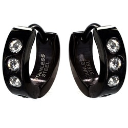 Black Stainless Steel Men's Cubic Zirconia Hoop Earrings