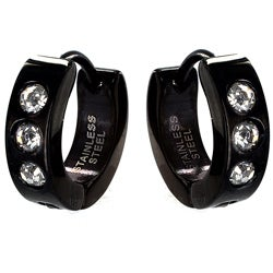 West Coast Jewelry Black Stainless Steel Men's Cubic Zirconia Hoop Earrings