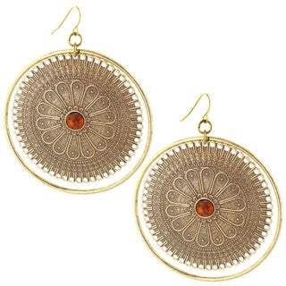 Goldtone Faux Stone Antiqued Floral Earrings