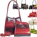 Dasein Patent Leatherette Snakeskin Embossed 2-in-1 Shoulder Bag with Flip-Clasp