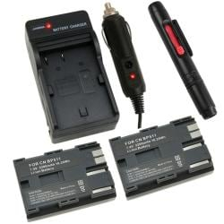 Li-ion Battery/ Charger/ Lens Cleaning Pen for Canon BP-511/ EOS 20D
