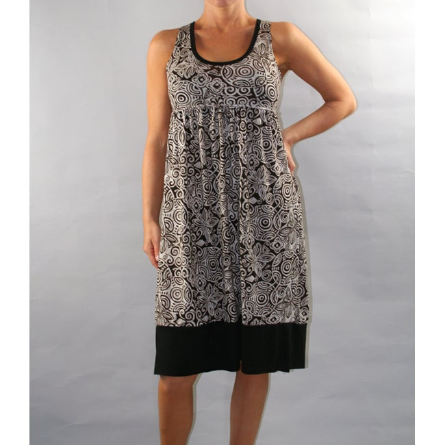 Institute Liberal Women's Black Printed Empire Waist Dress