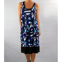 Institute Liberal Women's Blue Printed Empire Waist Dress