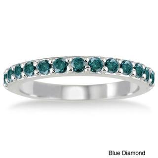 10k White Gold 1/2ct TDW Blue Diamond Wedding Band