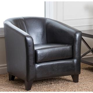 Abbyson Living Montecito Black Bicast Leather Armchair