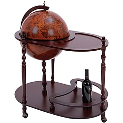 16th Century Style Wood Globe Bar/ Tea Cart