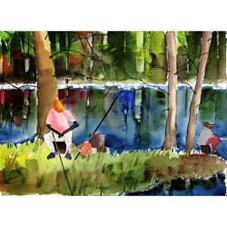 Ed Wade 'Beside The Still Waters' Rectangular Art Print