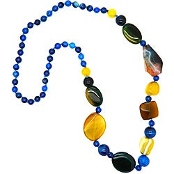 Pearlz Ocean Blue/ Yellow Agate Bead Fashion Necklace