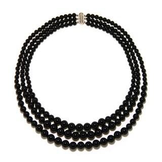 Pearlz Ocean Black Onyx Triple Strand Journey Necklace