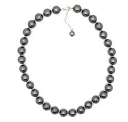 Pearlz Ocean Sterling Silver Grey Faux Shell Pearl Necklace (12mm)