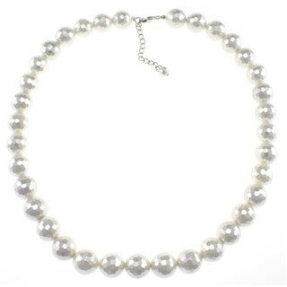 Pearlz Ocean Sterling Silver Reconstructed Shell Bead Necklace (12mm)