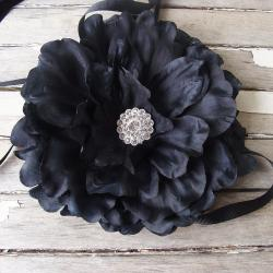 CarolineAlexander Ruffled Black Peony Flower Belt or Brooch