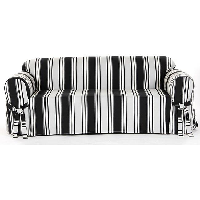 Cotton Black Stripe Sofa 1-piece Slipcover