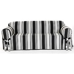 Cotton Black Stripe Sofa 1-piece Slipcover