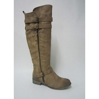 Bucco Women's Camel 'Valora' Zip-up Three-buckle Riding Boots