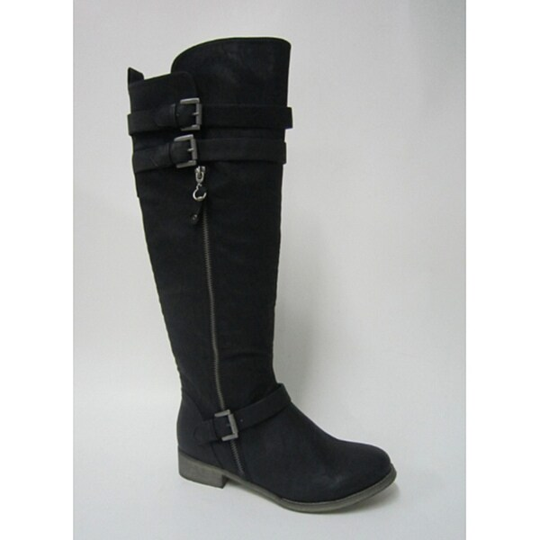 Bucco Women's Black 'Valora' Zip-up Three-buckle Riding Boots