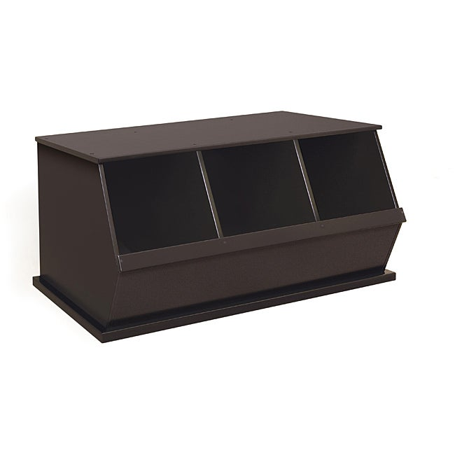 Three Bin Stackable Storage Cubby in Espresso