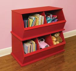 Three Bin Stackable Storage Cubby in Red