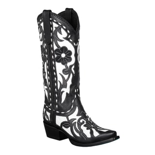 Lane Boots Women's Black/ White 'Poison' Cowboy Boots