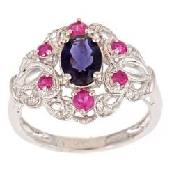 D'Yach Sterling Silver Iolite, Ruby and Diamond Accent Ring