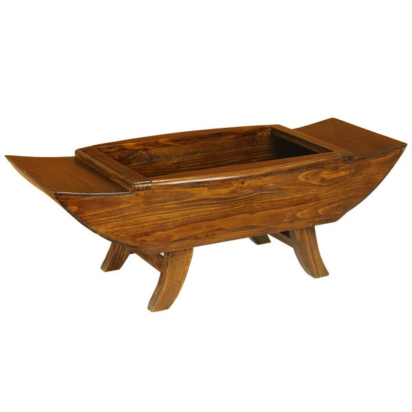Boat-shaped Decorative Wood Footed Bowl