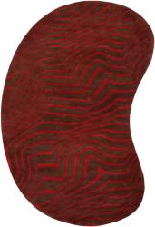 Hand-tufted Contemporary Red/Brown Striped Bootle Wool Rug (8' x 10')