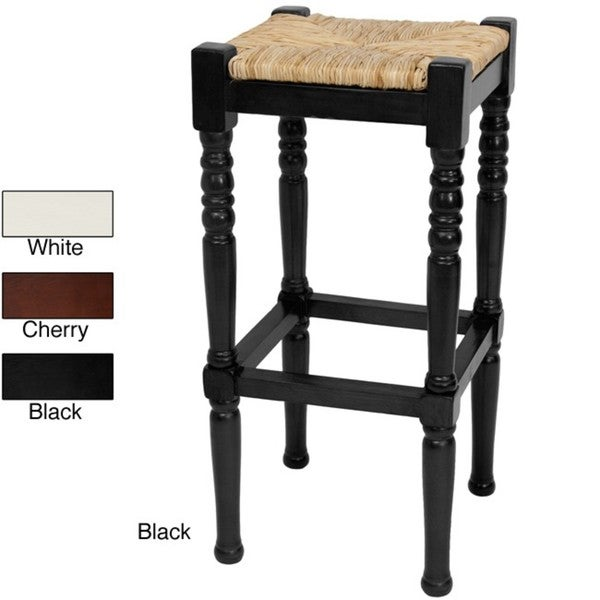 Wood 29-inch Classic Woven Top Barstool (China)