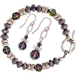 Misha Curtis Silvertone Crystal Rainbow Bracelet and Earring Se