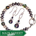 Misha Curtis Silvertone Crystal Rainbow Bracelet and Earring Se