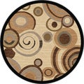 Flora Collection Ivory/ Multi Rug (5'3 Round)