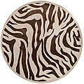 Hand-tufted Brown/White Zebra Animal Print Bruton Wool Rug (7'9 Round)