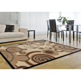 Flora Collection Ivory/ Multi Swirl Rug (7'10 x 10'3)