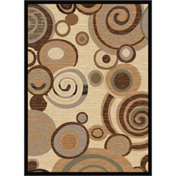 "Flora Collection Contemporary Ivory/Multi Rug (5'3"" x 7'3"")"