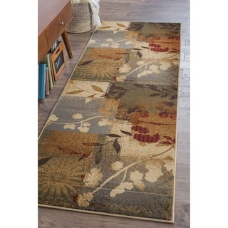 Infinity Collection Blue Floral Area Rug (2'7 x 7'3)
