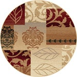 Infinity Collection Transitional Red Area Rug (5'3 Round)