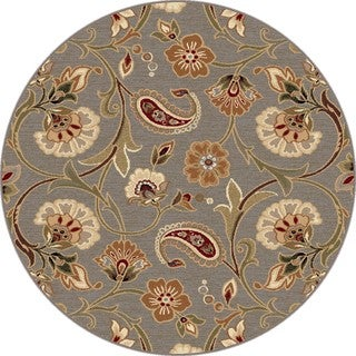 Infinity Blue/ Green Floral Rug (5'3 Round)
