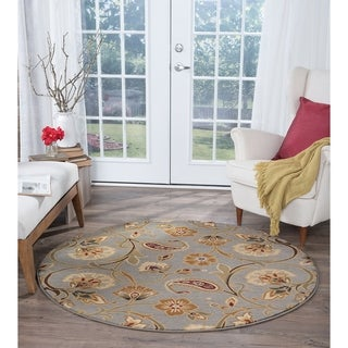 Alise Infinity Blue/ Green Floral Rug (5' 3 Round)