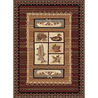 Natural Collection Brown/ Multi Rug (5'3 x 7'3)