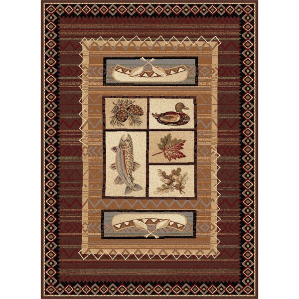 Alise Natural Collection Brown/ Multi Rug (5'3 x 7'3)