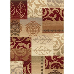 Infinity Collection Red Area Rug (5'3 x 7'3)