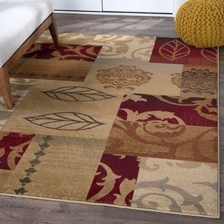 Infinity Collection Red Area Rug (7'10 x 10'3)