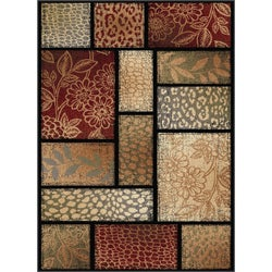 Infinity Collection Brown Area Rug (5'3 x 7'3)