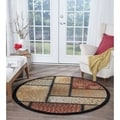 Infinity Collection Brown Round Rug (5' 3)