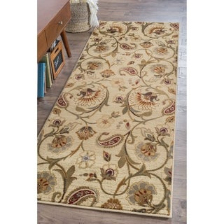 Infinity Collection Ivory/ Beige Area Rug (2&#39;7 x 7&#39;3)