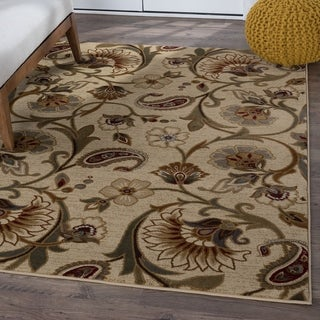 Infinity Collection Ivory/ Beige Rug (7'10 x 10'3)