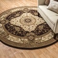 Primeval Coffee/ Ivory Oriental Rug (7&#39;7 x 7&#39;7)