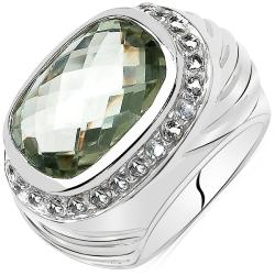 Malaika Silvertone Green Amethyst and White Topaz Ring